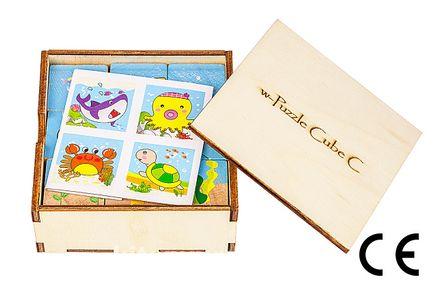 Montessori Ahşap Zeka Oyunları w-Puzzle Cube C Hayvanları Tanıyalım 1