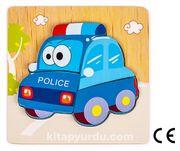Montessori Ahşap Zeka Oyunları / w-Basic Parts POLICE CAR