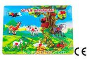 Montessori Ahşap Zeka Oyunları / w-Pin Puzzle - Farm Animals