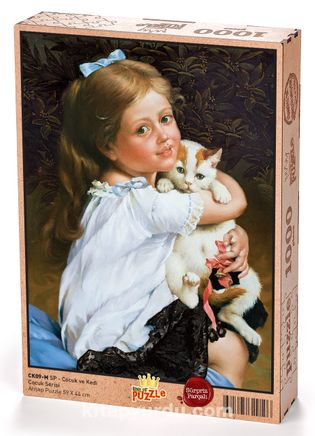 Çocuk ve Kedi (Sürpriz Parçalı) Ahşap Puzzle 1000 Parça (CK09-M)