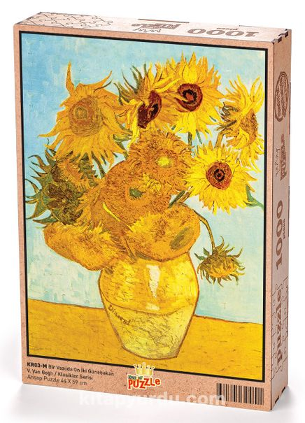 Bir Vazoda On İki Günebakan - Vincent Van Gogh Ahşap Puzzle 1000 Parça (KR03-M)
