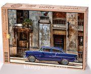 Havana Sokağı  ve Mavi Plymouth Ahşap Puzzle 1000 Parça (TT05-M)