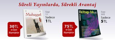 """30TL ve Üzeri Alışverişinize """" Muhayyel Dergisi Sayı:11 Mart 2019"""" Sadece 1TL"""