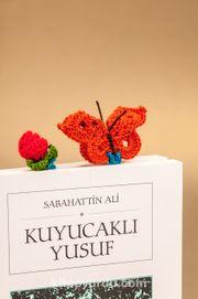 Amigurumi Gül Detaylı Turuncu Kelebek Kitap Ayracı