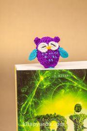 Amigurumi Mor Baykuş Kitap Ayracı