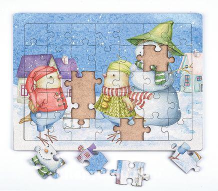 Kardan Adam ve Doğum Günü Ahşap Puzzle 35 Parça (XXXV-11)