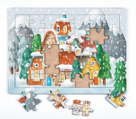 Orman Köyü ve Kış Ahşap Puzzle 35 Parça (XXXV-20)