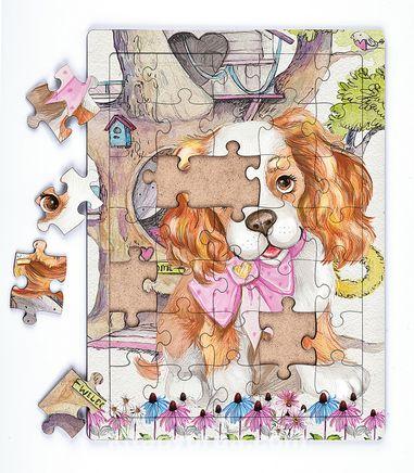 Sevimli Köpek ve Ağaç Ev Ahşap Puzzle 35 Parça (XXXV-22)