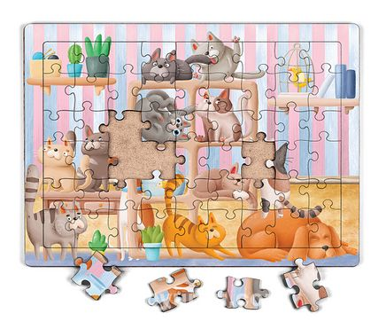Kitaplıktaki Kediler Ahşap Puzzle 54 Parça (LIV-13)