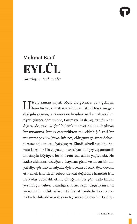 Eylül - Mehmed Rauf pdf epub