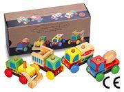 Montessori Ahşap Zeka Oyunları / w-Construction Cars