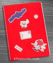 Bookinzi Okul Defteri -  80gr 70 yaprak A4 Spiralli - Stickerli Mektuplu Defter
