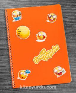 Bookinzi Okul Defteri -  80gr 70 yaprak A4 Spiralli - Stickerli Emojili Defter