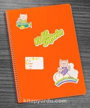 Bookinzi Okul Defteri - A4 Spiralli - Stickerli Kedili Defterim