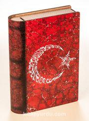 Kitap Şeklinde Mıknatıslı Ahşap Akordeon Kutu - Bayrak Ebruli Hat