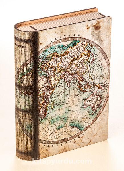 Kitap Şeklinde Mıknatıslı Ahşap Akordeon Kutu - Eski Harita