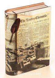 Kitap Şeklinde Mıknatıslı Ahşap Akordeon Kutu - Gazete Nostalji
