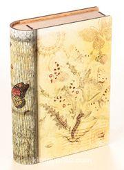 Kitap Şeklinde Mıknatıslı Ahşap Akordeon Kutu - Kelebek Kartpostal Nostalji