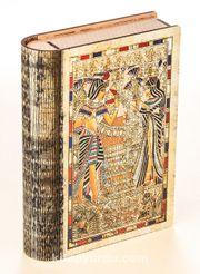 Kitap Şeklinde Mıknatıslı Ahşap Akordeon Kutu - Mısır Papirus Tutankamon