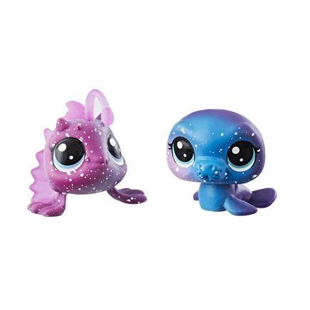Littlest Pet Shop 2'li Kozmik Miniş Koleksiyonu İyi Dostlar Mavi Fok - Mor Balık (E2128)