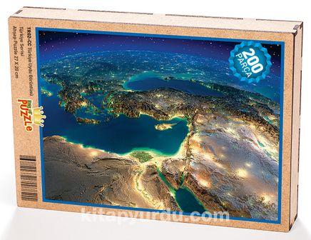 Türkiye Uydu Görüntüsü Ahşap Puzzle 204 Parça (TR02-CC)