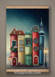 Full Frame Kanvas Poster - Fantastik Kitap Evler Kayın (FFK-KT01)
