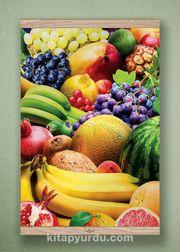 Full Frame Kanvas Poster - Renkli Meyveler Meşe (FFM-YI02)