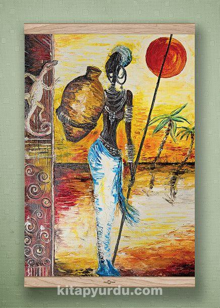 Full Frame Kanvas Poster - Testili Afrikalı Kadın Zaire - MEŞE (FFM-UK02)