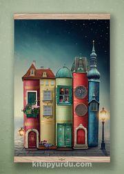 Full Frame Kanvas Poster - Fantastik Kitap Evler Meşe (FFM-KT02)