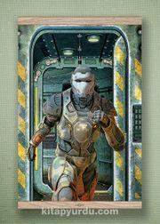 Full Frame Kanvas Poster - Koşan Fütüristik Asker - MEŞE (FFM-BK02)