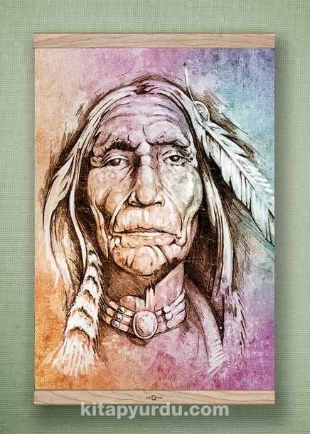 Full Frame Kanvas Poster - Yaşlı Kızılderili - MEŞE (FFM-PT02)