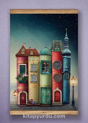 Full Frame Kanvas Poster - Fantastik Kitap Evler Sapelli (FFS-KT03)