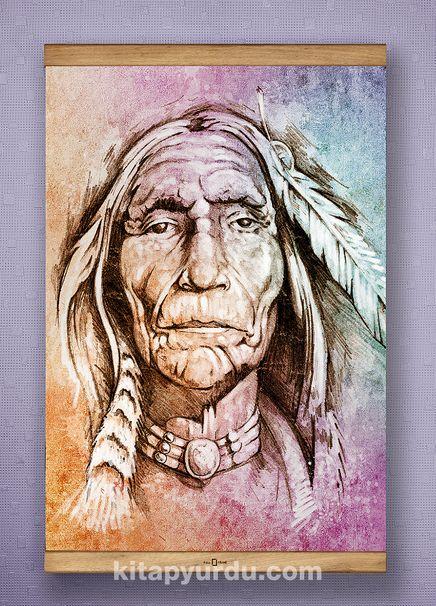 Full Frame Kanvas Poster - Yaşlı Kızılderili - SAPELLI (FFS-PT03)
