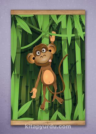Full Frame Kanvas Poster - Bambu Ormanında Maymun - SAPELLI (FFS-CK03)
