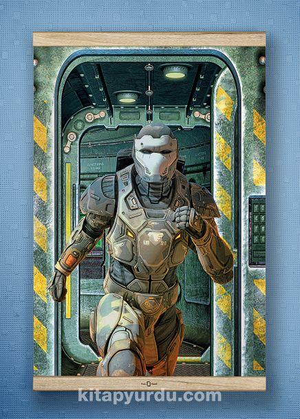 Full Frame Kanvas Poster - Koşan Fütüristik Asker - WHITE FRAKE (FFW-BK04)