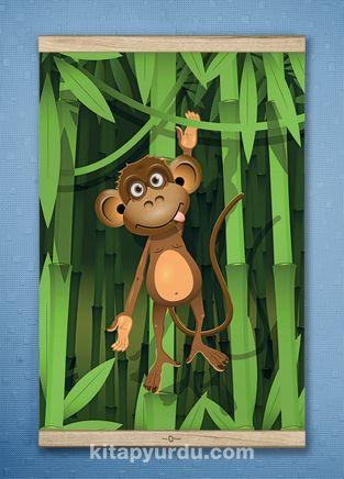 Full Frame Kanvas Poster - Bambu Ormanında Maymun - WHITE FRAKE (FFW-CK04)