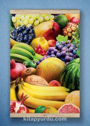 Full Frame Kanvas Poster - Renkli Meyveler White Frake (FFW-YI04)