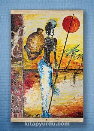 Full Frame Kanvas Poster - Testili Afrikalı Kadın Zaire - WHITE FRAKE (FFW-UK04)