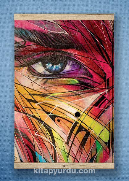 Full Frame Kanvas Poster - Renkli Yüz - WHITE FRAKE (FFW-KJ04)