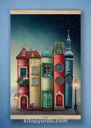 Full Frame Kanvas Poster - Fantastik Kitap Evler - WHITE FRAKE (FFW-KT04)