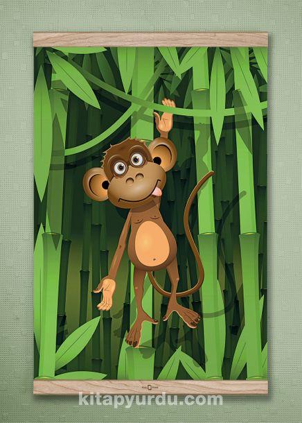 Full Frame Kanvas Poster - Bambu Ormanında Maymun - MEŞE (FFM-CK02)