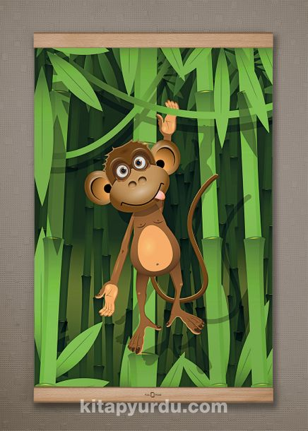 Full Frame Kanvas Poster - Bambu Ormanında Maymun - KAYIN (FFK-CK01)