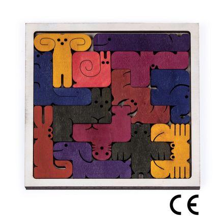 Montessori Ahşap Zeka Oyunları/ w-Animal Tetris