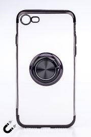Telefon Kılıfı - Apple iPhone 7 ve 8 - Yüzüklü Şeffaf - Siyah (TŞY-002)