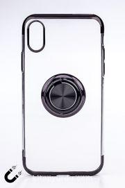 Telefon Kılıfı - Apple iPhone X ve XS - Yüzüklü Şeffaf - Siyah (TŞY-006)