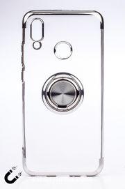 Telefon Kılıfı - Honor 10 Lite - Yüzüklü Şeffaf - Gümüş (TŞY-013)