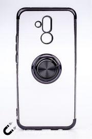 Telefon Kılıfı - Huawei Mate 20 Lite - Yüzüklü Şeffaf - Siyah (TŞY-014)