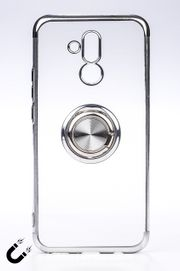 Telefon Kılıfı - Huawei Mate 20 Lite - Yüzüklü Şeffaf - Gümüş (TŞY-015)