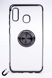 Telefon Kılıfı - Samsung Galaxy A20 ve A30 - Yüzüklü Şeffaf - Siyah (TŞY-016)