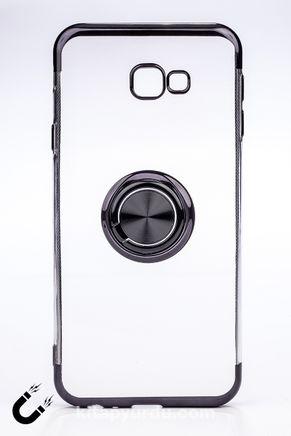 Telefon Kılıfı - Samsung Galaxy J4 Plus  - Yüzüklü Şeffaf - Siyah (TŞY-020)